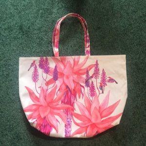Pink & floral reversible large tote. Estée Lauder
